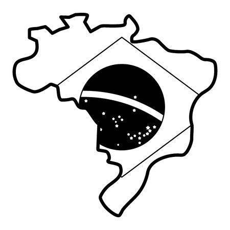 brazil carnival festival map flag celebration vector illustration