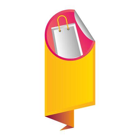 sale banner peel off paper sticker shopping bag vector illustration Illustration