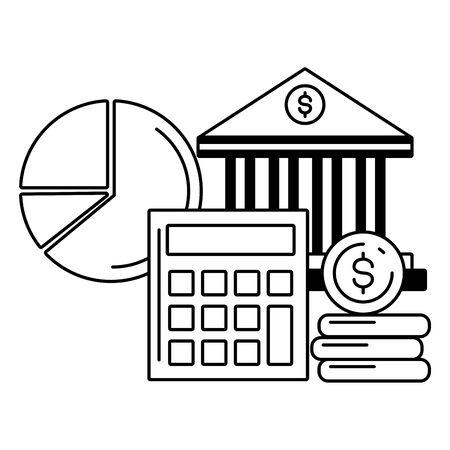 bank calculator money report bank online payment vector illustration Imagens - 128911542