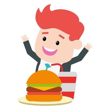man eating burger soda fast food vector illustration 일러스트