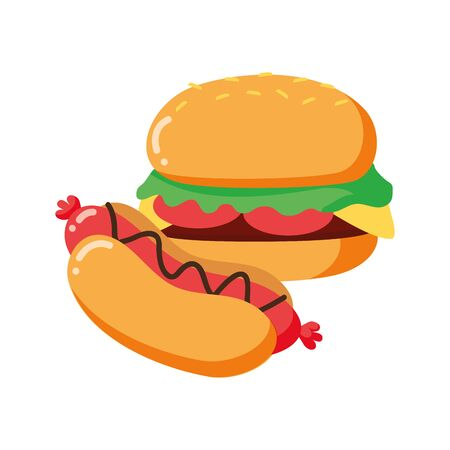 burger and hot dog on white background vector illustration
