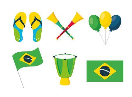 brazil carnival festival flag drum horns balloons flip flops vector illustration Illustration
