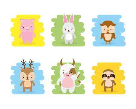 cute animals owl pig rabbit bull deer vector illustration Ilustração