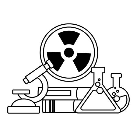 school science test flasks radiation sign vector illustration design