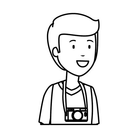 tourist man with camera photographic character vector illustration design Illustration