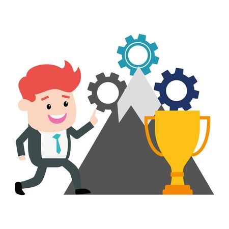 businessman success mountain trophy gears vector illustration