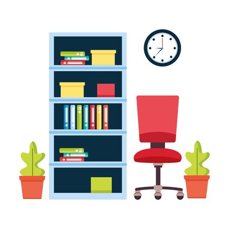 office bookshelf chair furniture workplace vector illustration