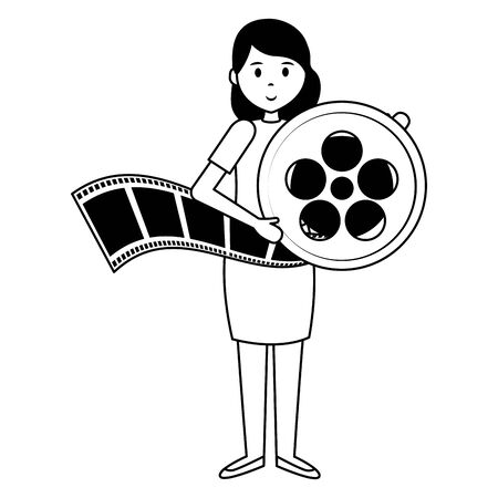woman reel strip film movie vector illustration Ilustração