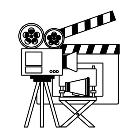 projector clapboard chair speaker cinema movie vector illustration  イラスト・ベクター素材