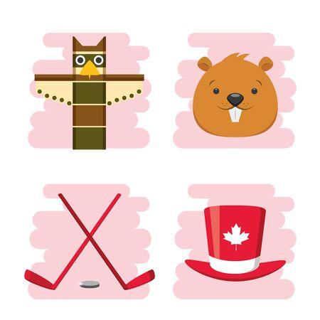 happy canada day beaver totem hockey sticks hat vector illustration