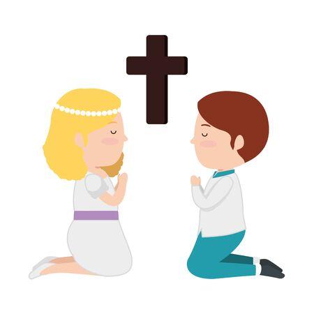 little kids kneeling with cross first communion vector illustration design Stockfoto - 128975435