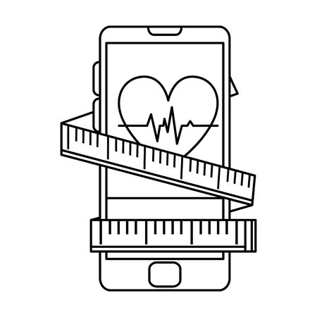 smartphone with heart cardio and tape measure vector illustration design Illustration