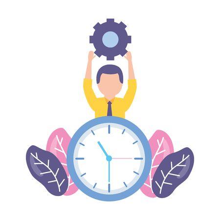 businessman clock time on white background vector illustration