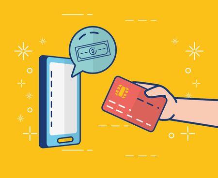 mobile banknote app online banking vector illustration Foto de archivo - 128934056