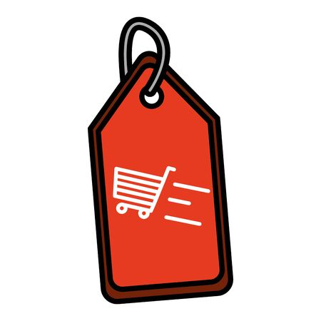 tag price commerce shopping cart vector illustration
