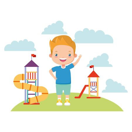 boy waving hand in the playground - kids zone vector illustration Stock Vector - 128967178