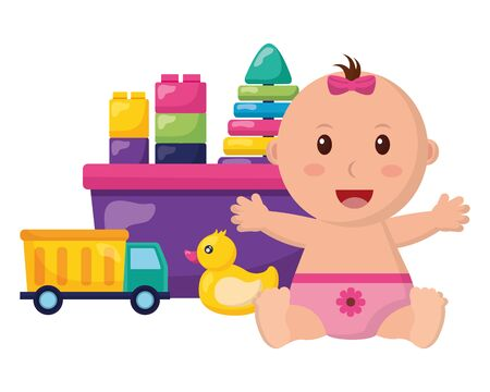 baby girl with bucket blocks and truck toys vector illustration Foto de archivo - 128935176