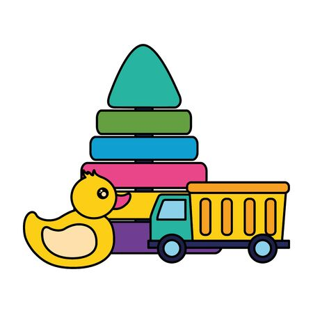 kids toys duck pyramid truck vector illustration Ilustracja