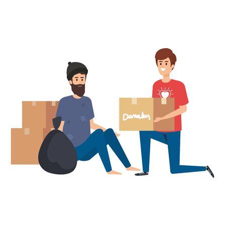 man volunteer giving a homeless man donations box vector illustration design Ilustração