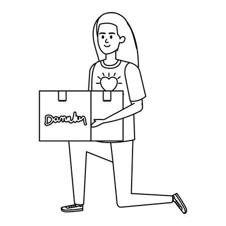 young woman volunteer lifting donations box vector illustration design