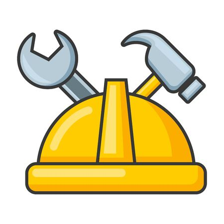 helmet wrench and hammer on white background vector illustration 版權商用圖片 - 128944274