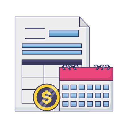 tax payment document calendar money coin vector illustration Stock Illustratie