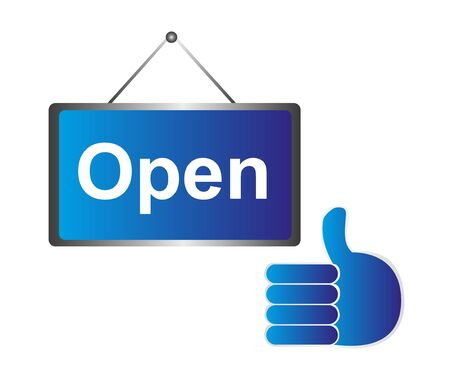blue open sign and hand ok isolated over white background. vector