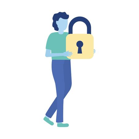 businessman holding padlock security vector illustration design 向量圖像