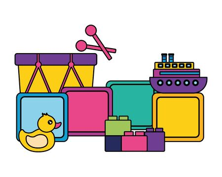 duck drum block boat cubes kids toys vector illustration