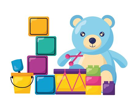 kids toys cubes bucket bear drum blocks vector illustration