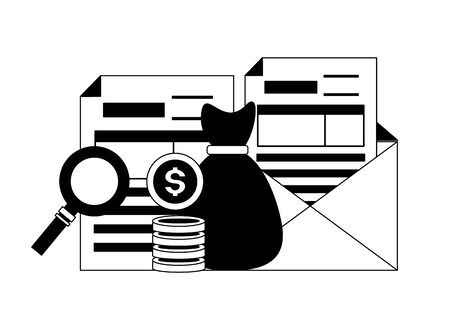 money bag coins analysis tax time payment vector illustration Illusztráció