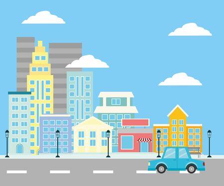 都市空間建物ストリートカーランプ都市背景ベクトル図  イラスト・ベクター素材