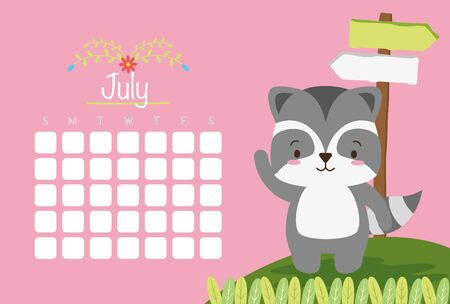 cute raccoon animal calendar cartoon vector illustration Illustration