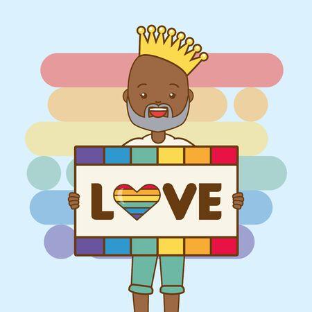 man and t shirt lgbt pride vector illustration Ilustracja