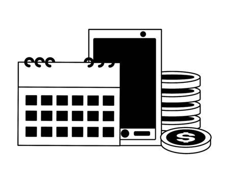 cellphone calendar coins money tax payment vector illustration Stock Illustratie