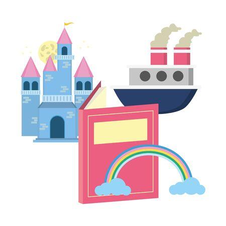 castle boat rainbow textbook world book day Stock Illustratie