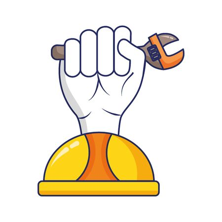 hand with spanner and helmet labour day vector illustration