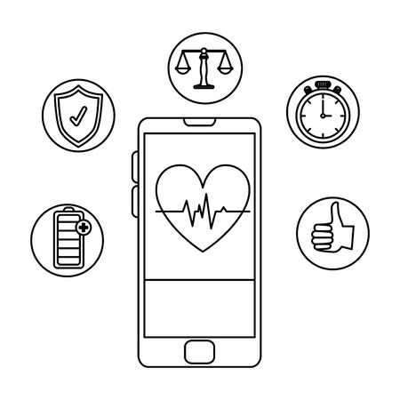 smartphone with heart cardio and health icons vector illustration design Stock Vector - 128998827
