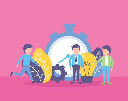 business people clock time creativity work vector illustration Çizim