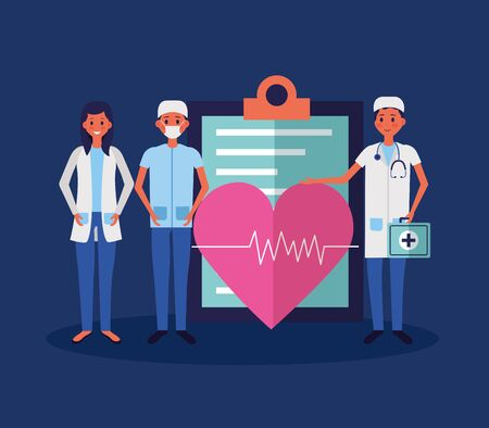 medical people staff clipboard and heartbeat suitcase vector illustration