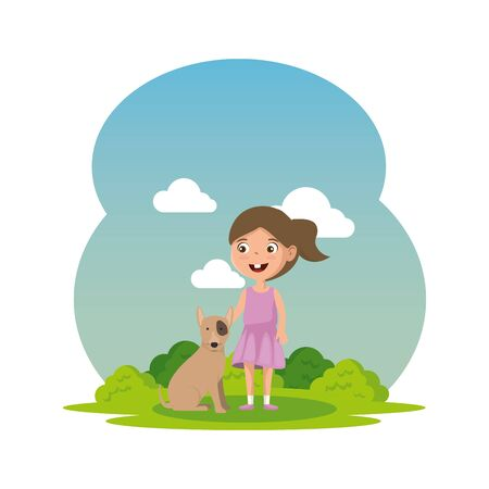 cute little girl with puppy in the camp vector illustration design