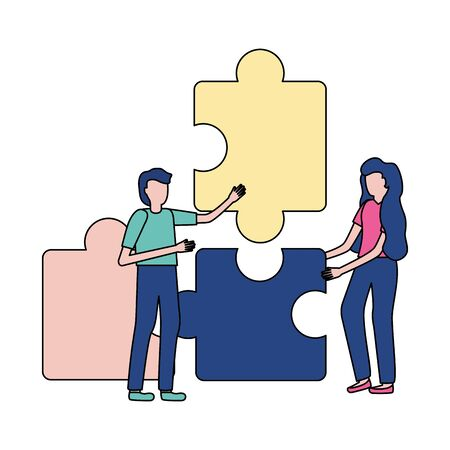 business people puzzles pieces strategy vector illustration 向量圖像