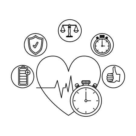 heart cardio with healthy icons vector illustration design