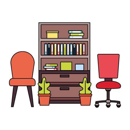 office bookshelf chairs furniture vector illustration design