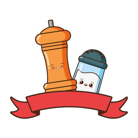 kawaii salt and pepper cartoon vector illustration Banque d'images - 129006211
