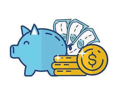 piggy bank money online payment vector illustration
