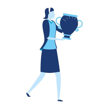 businesswoman with trophy business success vector illustration 일러스트