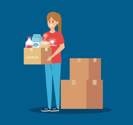 girl volunteer wih box donation and food vector illustration