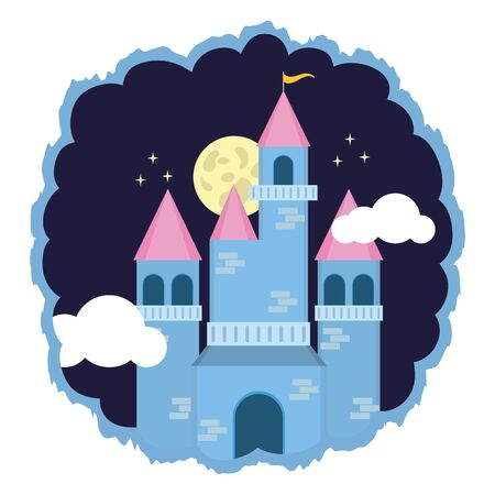 kingdom castle fantasy night sky vector illustration design