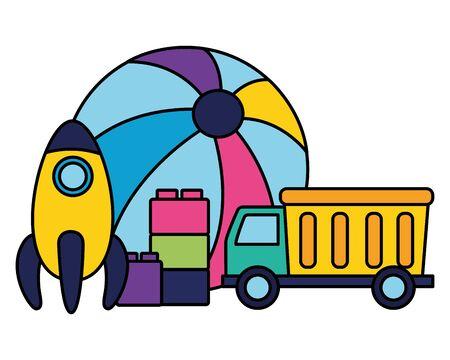 kids toys rubber ball rocket truck and blocks vector illustration 向量圖像